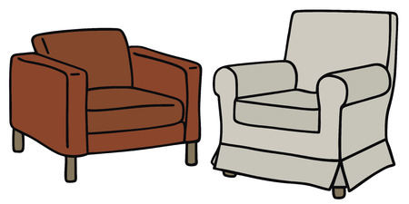 Hand Drawing Of Two Armchairs Vector