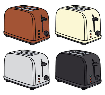 Hand drawing of four electric toasters Vector