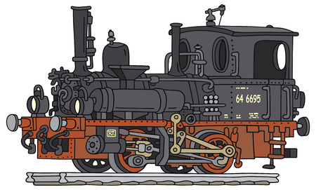 Hand drawing of an old steam locomotive