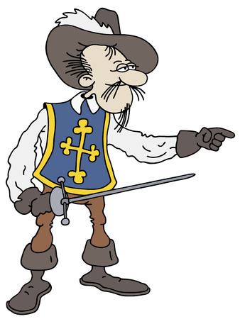 guardsman: Hand drawing of a musketeer