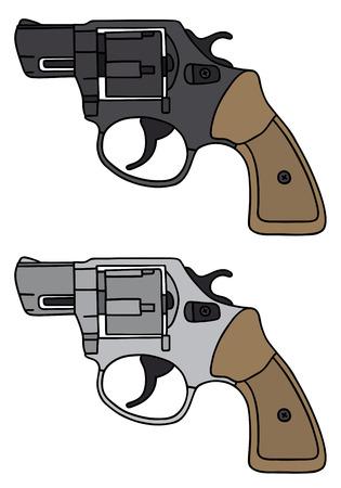 Disegno a mano di due revolver classici brevi - non un vero e proprio modello di