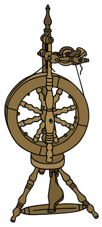 Hand drawing of a spinning wheel Illustration