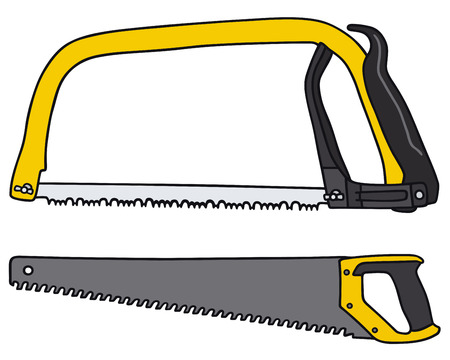 handsaw: Hand drawing of two yellow saws Illustration