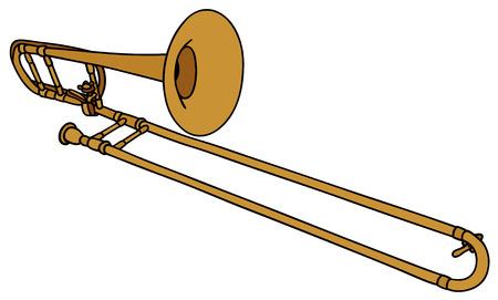 Gráfico de la mano de un trombón Ilustración de vector