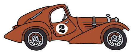 Illustrazione della mano di una macchina da corsa d'epoca - non un vero e proprio tipo di