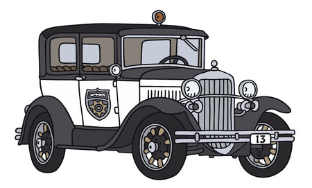 Hand drawing of a vintage police car  - not a real type Vector