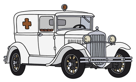 Hand drawing of a vintage ambulance car - not a real type