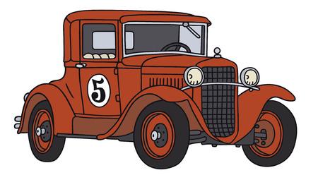 Disegno a mano di una vettura da corsa d'epoca - non un vero e proprio tipo