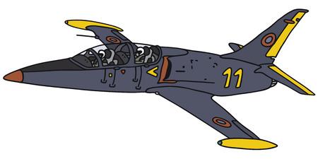 Disegno a mano di un aereo jet blu scuro - non un vero e proprio tipo