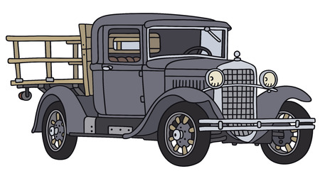 Hand drawing of a vintage truck - not a real type Illustration