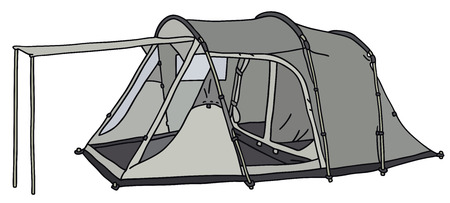 alpinism: Hand drawing of a big tent
