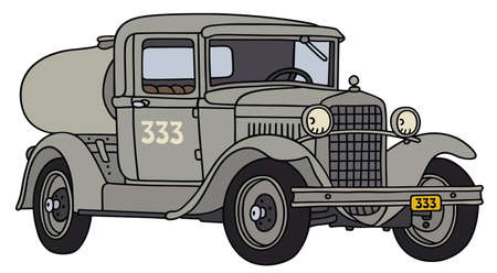 old timer: Hand drawing of a vintage tank truck - not a real type