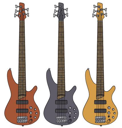 disegno a mano: Disegno a mano di tre chitarre basso elettriche Vettoriali