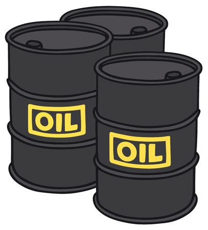 vat: Hand drawing of three sheetmetal barrels