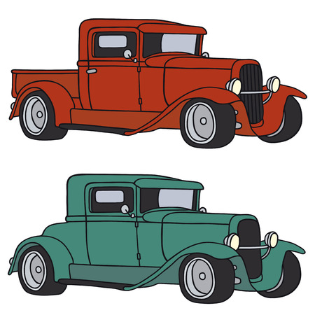 Hand drawing of two funny vintage cars - any real types Illustration
