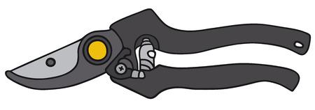 garden shears: Gr�fico de la mano de una tijeras de jard�n