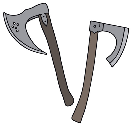 executor: Hand drawing of two old ketch axes Illustration