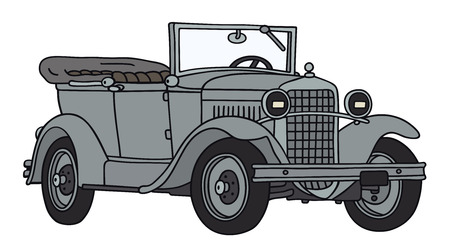 Hand drawing of a vintage military car - not a real type Illustration