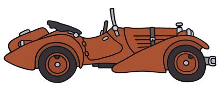 roadster: Hand drawing of a vintage roadster - not a real type Illustration
