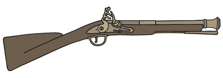 Hand drawing of a historical rifle