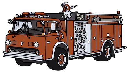 Illustrazione della mano di un incendio camion classico - non un vero e proprio modello Vettoriali