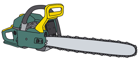 Hand drawing of an green chainsaw - not a real type