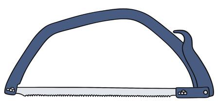 disegno a mano: Illustrazione della mano di una sega blu