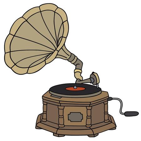 disegno a mano: Disegno a mano di un corno grammofono d'epoca