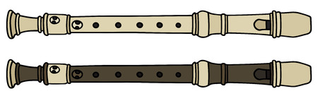 Hand drawing of two flutes