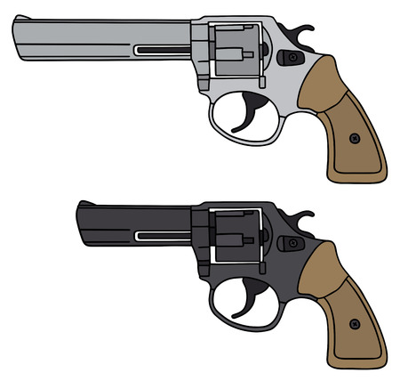 Hand drawing of a two revolvers - any real model