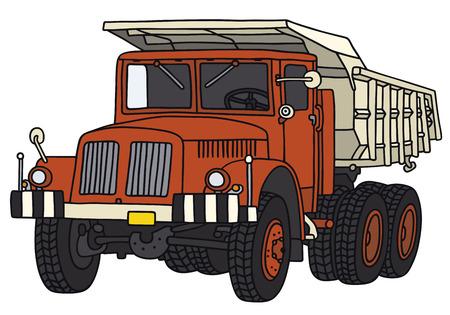 Illustrazione della mano di un camion dumper classico