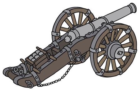 bombard: Disegno a mano di un cannone storica Vettoriali