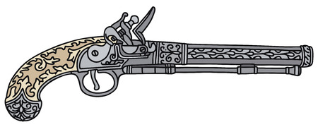 Hand drawing of a historical pistol