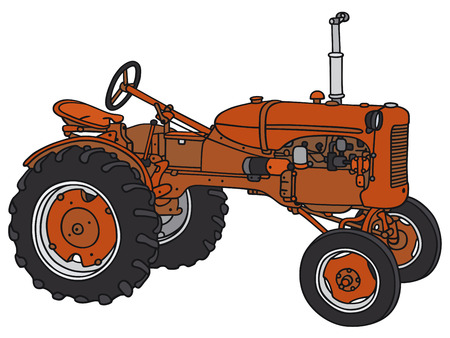 Hand drawing of a classic tractor - not a real model Vectores
