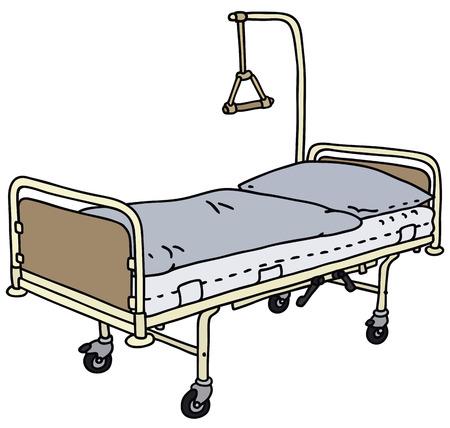 Illustrazione della mano di un letto d'ospedale