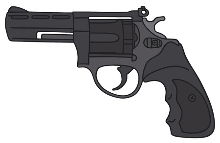 Hand drawing of a modern revolver - not a real model Illustration