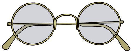 spectacle frame: Hand drawing of a classic gold glasses
