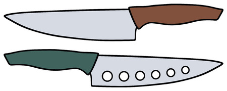 carver: Hand drawing of two big kitchen knives
