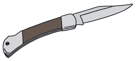 carver: Hand drawing of a clasp knife Illustration