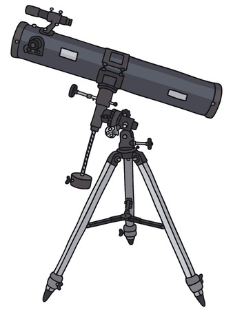Hand drawing of a small astronomic telescope Vector