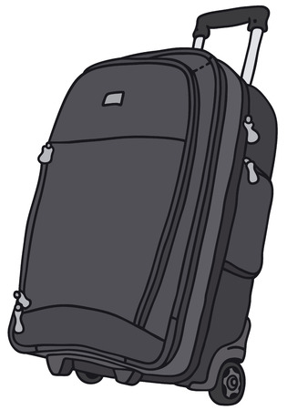 Hand drawing of a big baggage on wheels