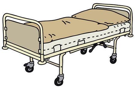 Hand drawing of the old metal hospital bed Vector
