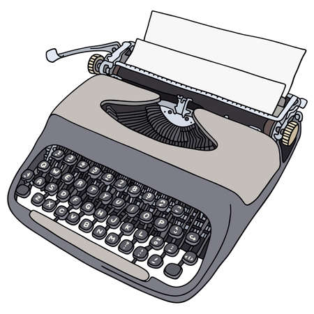 type writer: Hand drawing of a portable typewriter