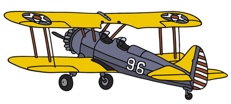 Hand drawing of an old american military biplane - not a real type Illustration
