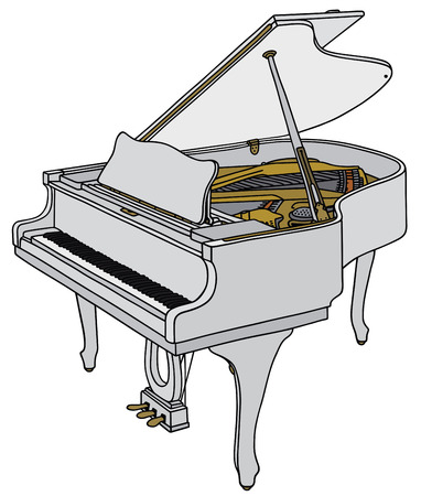 Hand drawing of an opened white grand piano