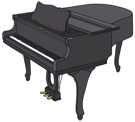 Hand drawing of a black classic grand piano