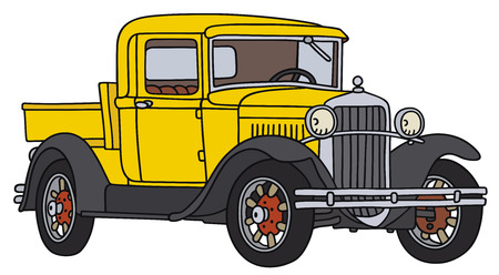 hand truck: Hand drawing of a vintage pick-up - not a real type