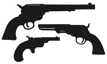 Hand drawing of three classic Wild West revolvers