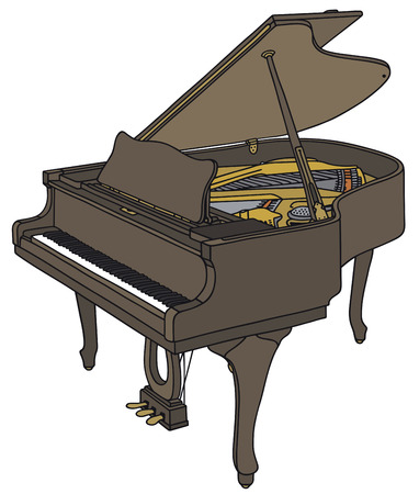 pianoforte: Hand drawing of an opened grand piano Illustration