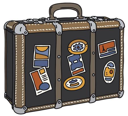 手描きの古い革スーツケースの  イラスト・ベクター素材